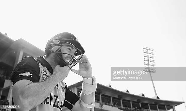 Kane Williamson Captain of New Zealand preapres to go out to bat during the ICC World Twenty20 India 2016 match between Australia and New Zealand at...