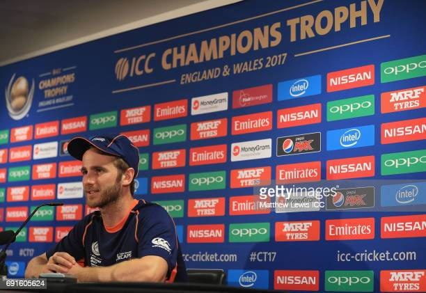 Kane Williamson captain of New Zealand talks to the media after the ICC Champions Trophy match between Australia and New Zealand at Edgbaston on June...