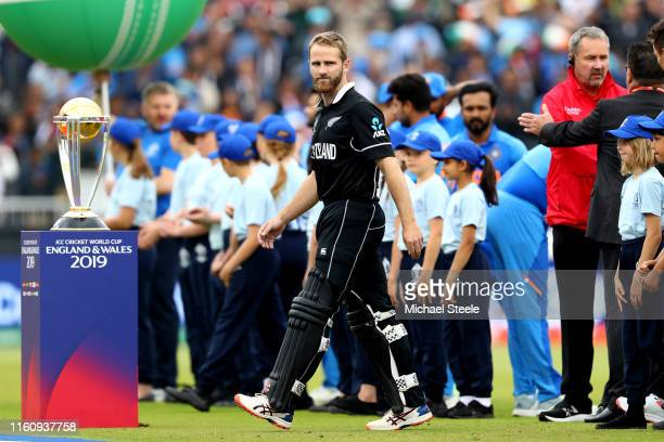 Kane Williamson Captain of New Zealand walks toward the pitch after his national anthem ahead the SemiFinal match of the ICC Cricket World Cup 2019...