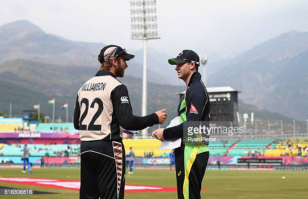 Kane Williamson of New Zealand and Steve Smith of Australia meet for the toss during the ICC World Twenty20 India 2016 Super 10s Group 2 match...