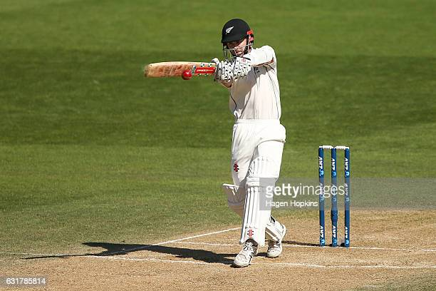 Kane Williamson of New Zealand bats during day five of the First Test match between New Zealand and Bangladesh at Basin Reserve on January 16 2017 in...