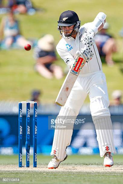 Kane Williamson of New Zealand bats during day four of the Second Test match between New Zealand and Sri Lanka at Seddon Park on December 21 2015 in...