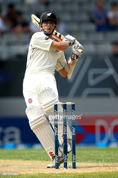 Kane Williamson of New Zealand bats during day one of the First Test match between New Zealand and India at Eden Park on February 6 2014 in Auckland...