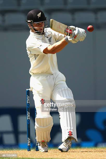 Kane Williamson of New Zealand bats during day one of the First Test match between New Zealand and India at Eden Park on February 6, 2014 in...