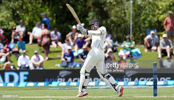 Kane Williamson of New Zealand bats during day one of the First Test match between New Zealand and Sri Lanka at University Oval on December 10 2015...