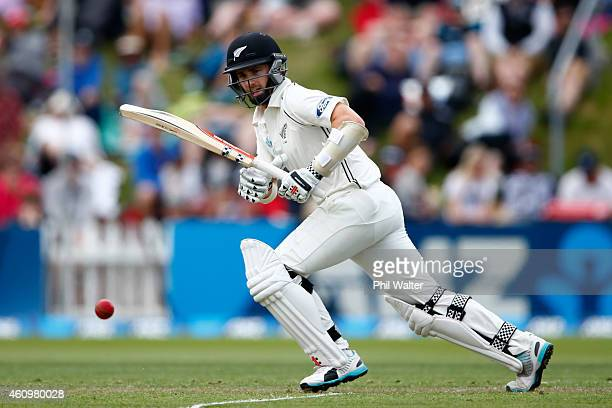 Kane Williamson of New Zealand bats during day one of the Second Test match between New Zealand and Sri Lanka at the Basin Reserve on January 3 2015...
