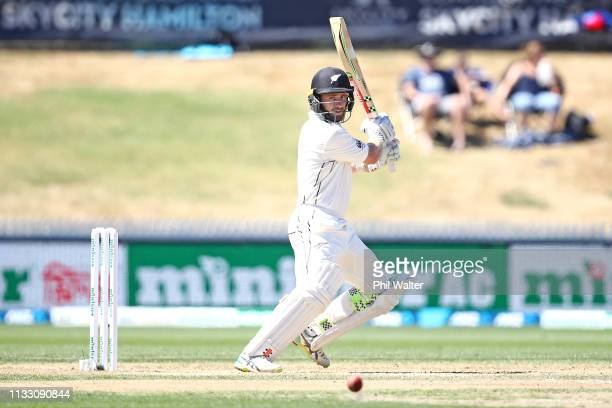 Kane Williamson of New Zealand bats during day three of the First Test match in the series between New Zealand and Bangladesh at at Seddon Park on...