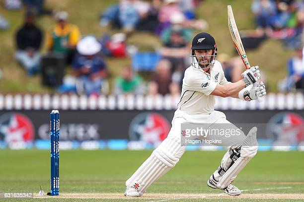 Kane Williamson of New Zealand bats during day three of the First Test match between New Zealand and Bangladesh at Basin Reserve on January 14 2017...