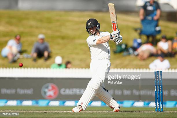 Kane Williamson of New Zealand bats during day three of the Second Test match between New Zealand and Sri Lanka at Seddon Park on December 20 2015 in...