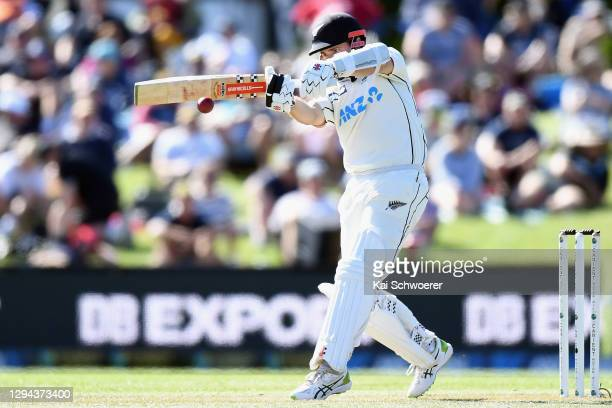Kane Williamson of New Zealand bats during day two of the Second Test match in the series between New Zealand and Pakistan at Hagley Oval on January...