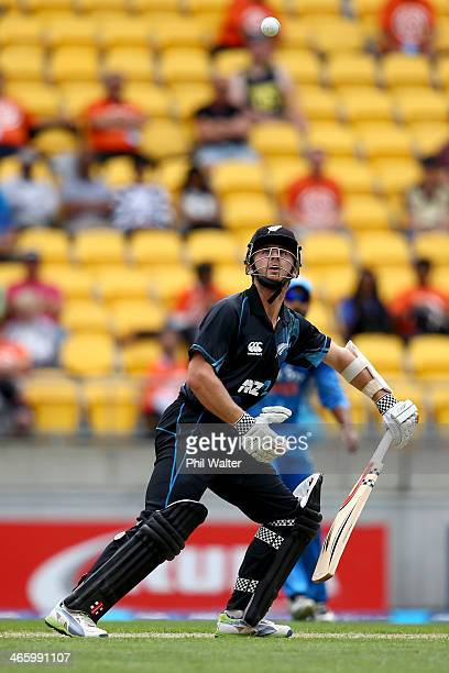 Kane Williamson of New Zealand bats during Game 5 of the men's one day international between New Zealand and India at Westpac Stadium on January 31...