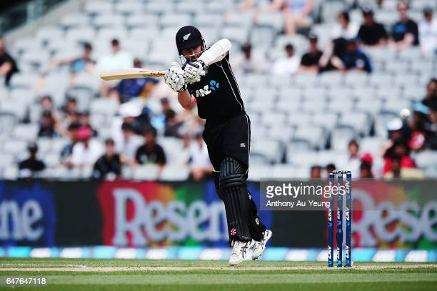 Kane Williamson of New Zealand bats during game five of the One Day International series between New Zealand and South Africa at Eden Park on March 4...