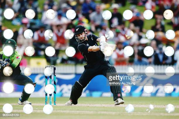 Kane Williamson of New Zealand bats during game four of the One Day International Series between New Zealand and Pakistan at Seddon Park on January...