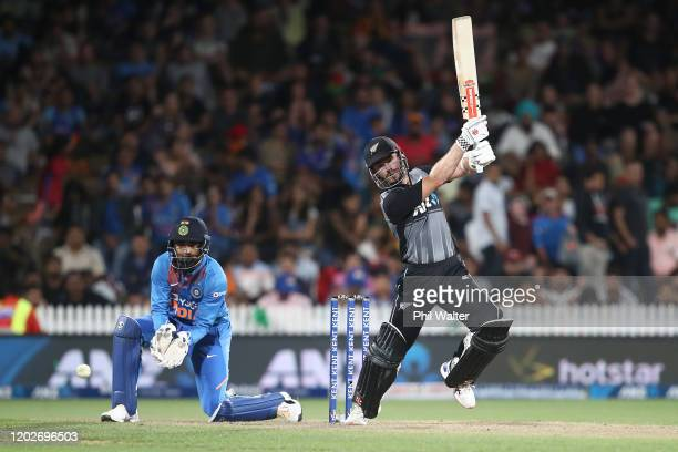 Kane Williamson of New Zealand bats during game three of the Twenty20 series between New Zealand and India at Seddon Park on January 29, 2020 in...