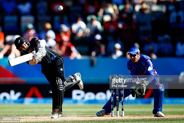 Kane Williamson of New Zealand bats during the 2015 ICC Cricket World Cup match between New Zealand and Afghanistan at McLean Park on March 8 2015 in...