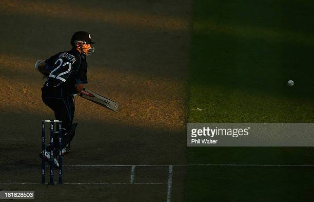 Kane Williamson of New Zealand bats during the first match of the one day international series between New Zealand and England at Seddon Park on...