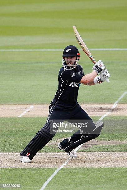 Kane Williamson of New Zealand bats during the first One Day International match between New Zealand and Bangladesh at Hagley Oval on December 26...