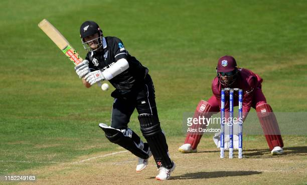 Kane Williamson of New Zealand bats during the ICC Cricket World Cup 2019 Warm Up match between West Indies and New Zealand at Bristol County Ground...