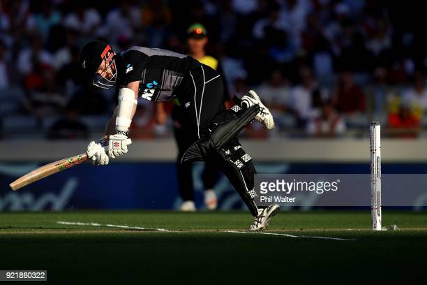 Kane Williamson of New Zealand bats during the International Twenty20 Tri Series Final match between New Zealand and Australia at Eden Park on...
