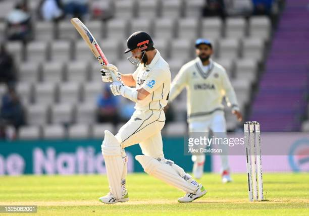 Kane Williamson of New Zealand bats during the Reserve Day of the ICC World Test Championship Final between India and New Zealand at The Hampshire...