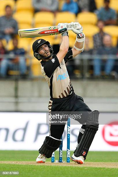 Kane Williamson of New Zealand bats during the Twenty20 International match between New Zealand and Pakistan at Westpac Stadium on January 22 2016 in...