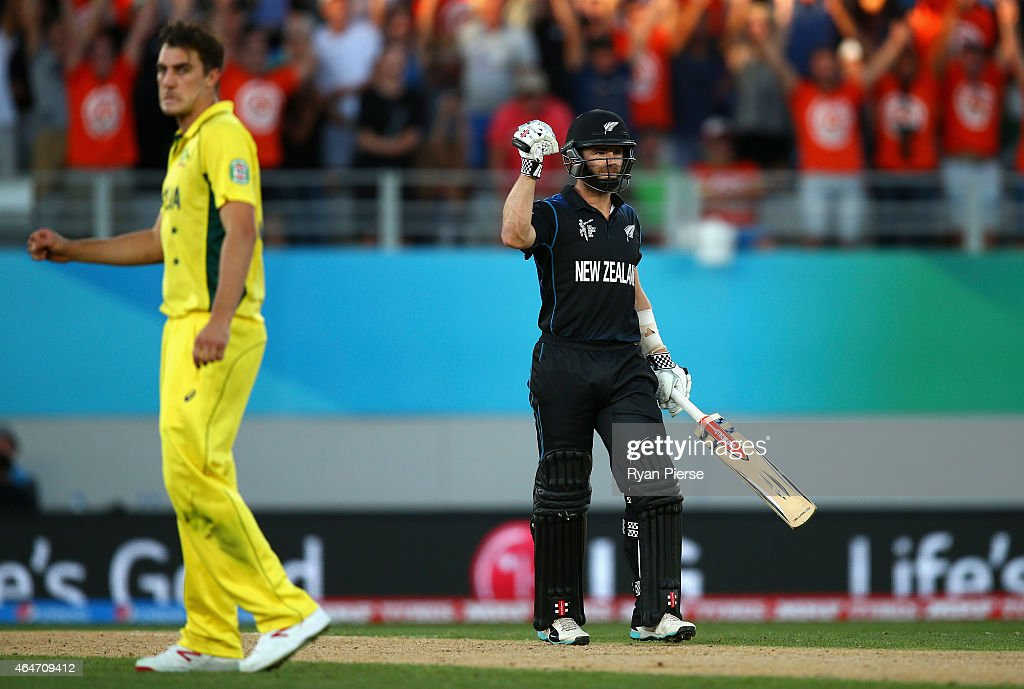 Kane Williamson of New Zealand celebrates after hitting the winning runs off Pat Cummins of Australia during the 2015 ICC Cricket World Cup match between Australia and New Zealand at Eden Park on February 28, 2015 in Auckland, New Zealand.