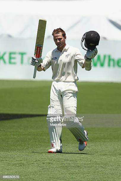 Kane Williamson of New Zealand celebrates after reaching his century during day three of the First Test match between Australia and New Zealand at...