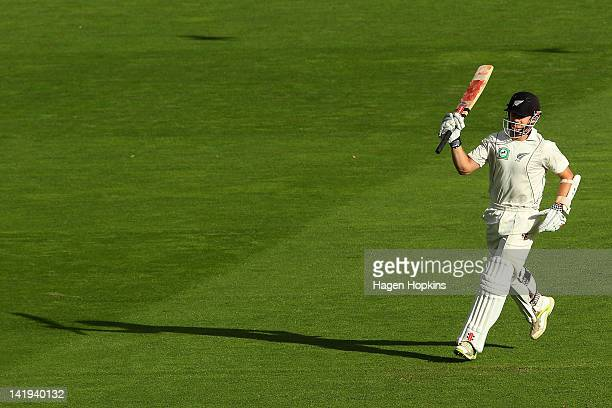 Kane Williamson of New Zealand celebrates his century during day five of the Third Test match between New Zealand and South Africa at Basin Reserve...
