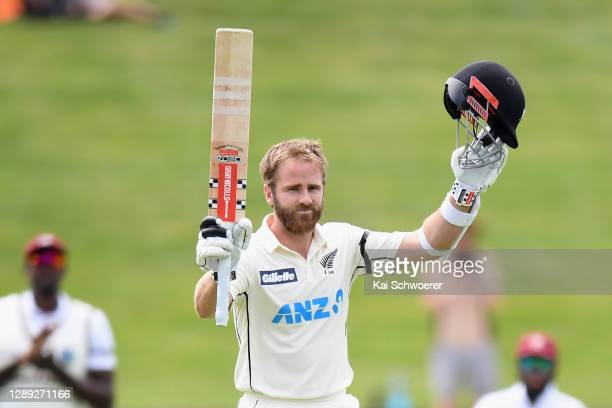 Kane Williamson of New Zealand celebrates his century during day two of the First Test match in the series between New Zealand and the West Indies at...