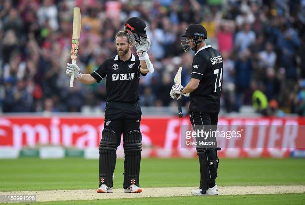 Kane Williamson of New Zealand celebrates his century during the Group Stage match of the ICC Cricket World Cup 2019 between New Zealand and South...