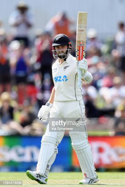 Kane Williamson of New Zealand celebrates his half century during day two of the Second Test match in the series between New Zealand and Pakistan at...