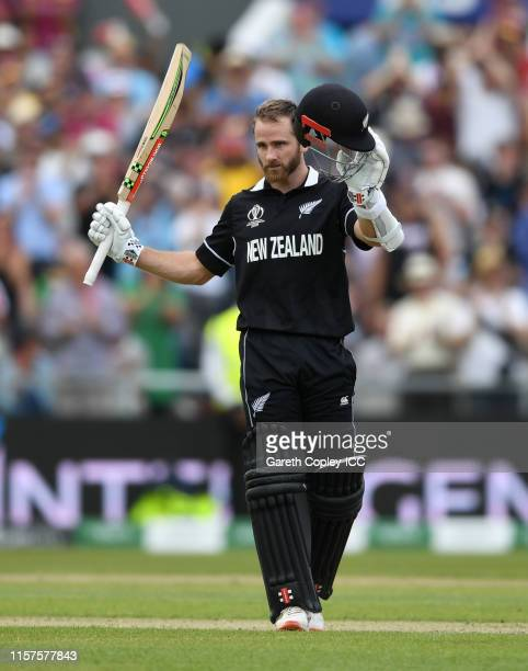 Kane Williamson of New Zealand celebrates reaching his century during the Group Stage match of the ICC Cricket World Cup 2019 between West Indies and...
