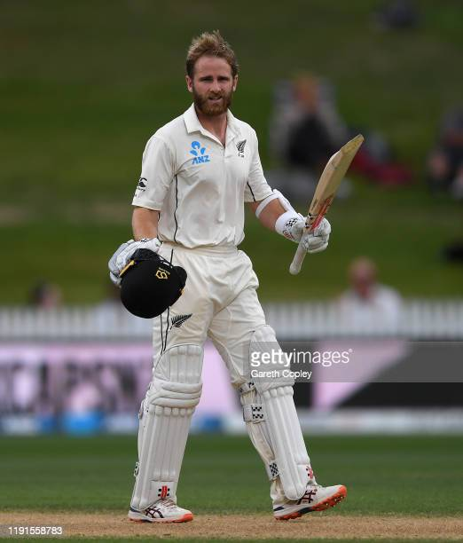 Kane Williamson of New Zealand celebrates reaching his century during day 5 of the second Test match between New Zealand and England at Seddon Park...