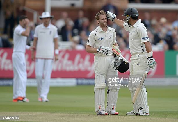 Kane Williamson of New Zealand celebrates reaching his century with teammate Ross Taylor during day three of 1st Investec Test match between England...