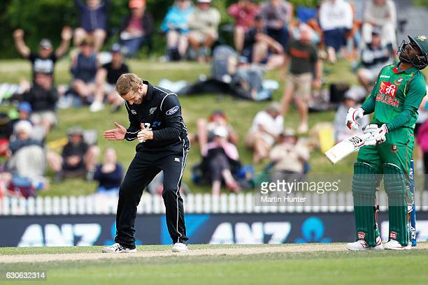 Kane Williamson of New Zealand celebrates the wicket of Shakib Al Hasan of Bangladesh during the second One Day International match between New...