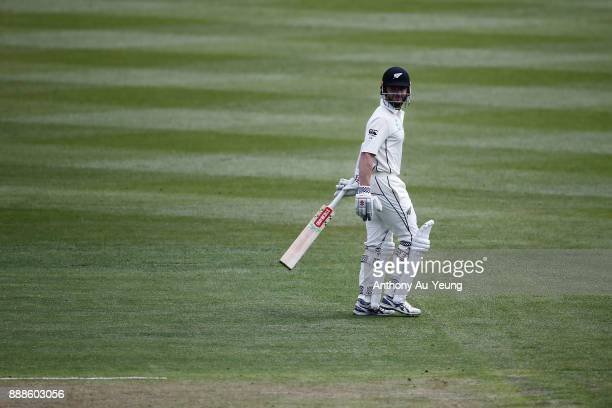 Kane Williamson of New Zealand departs after being dismissed by Miguel Cummins of the West Indies during day one of the second Test match between New...