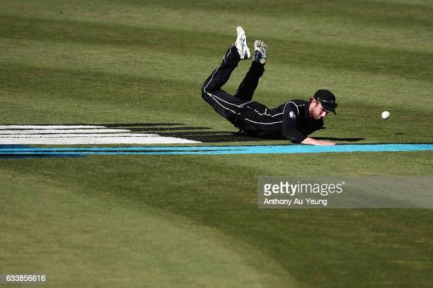 Kane Williamson of New Zealand fails to stop the ball during game three of the One Day International series between New Zealand and Australia at...