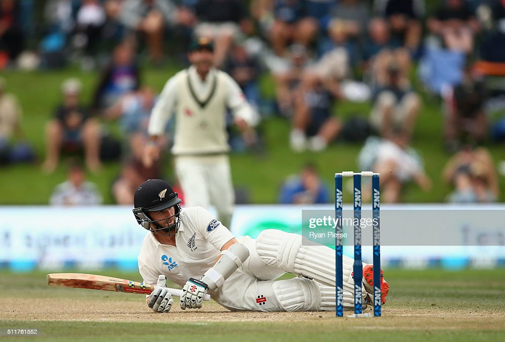 Kane Williamson of New Zealand falls while batting during day four of the Test match between New Zealand and Australia at Hagley Oval on February 23, 2016 in Christchurch, New Zealand.