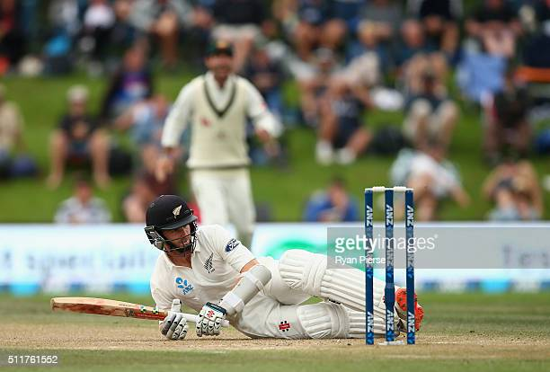Kane Williamson of New Zealand falls while batting during day four of the Test match between New Zealand and Australia at Hagley Oval on February 23...