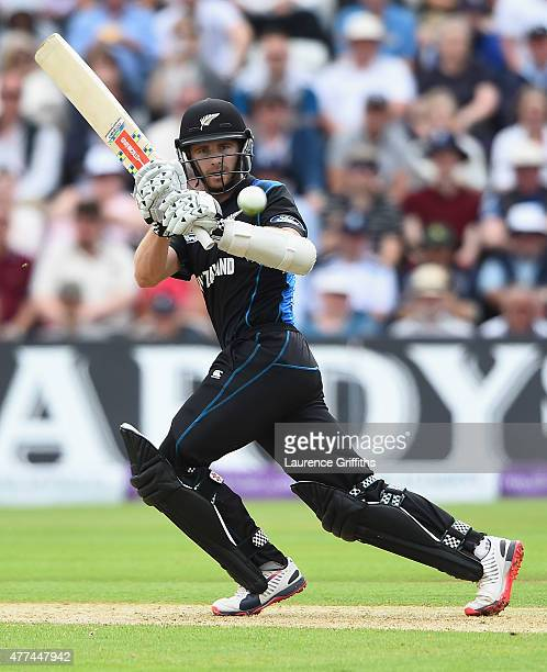 Kane Williamson of New Zealand hits out during the 4th ODI Royal London OneDay International between England and New Zealand at Trent Bridge on June...