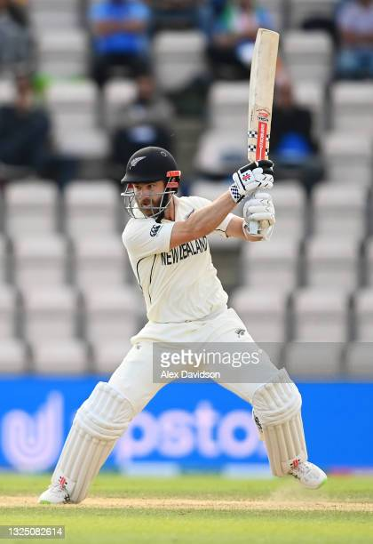 Kane Williamson of New Zealand hits runs during the Reserve Day of the ICC World Test Championship Final between India and New Zealand at The...