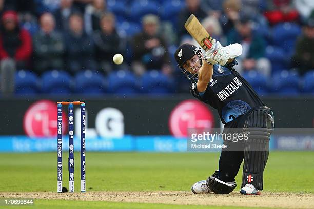 Kane Williamson of New Zealand hits to the offside during the ICC Champions Trophy Group A match between England and New Zealand at the SWALEC...