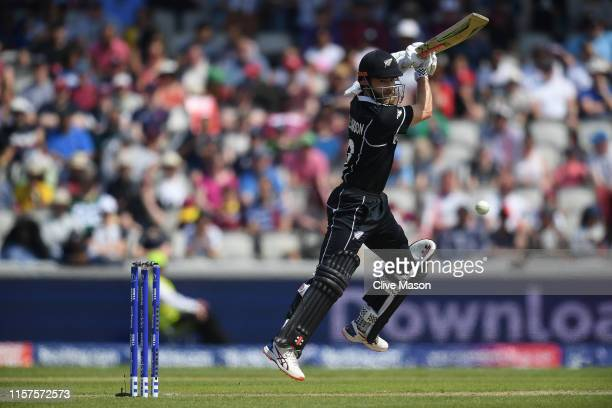 Kane Williamson of New Zealand in action batting during the Group Stage match of the ICC Cricket World Cup 2019 between West Indies and New Zealand...