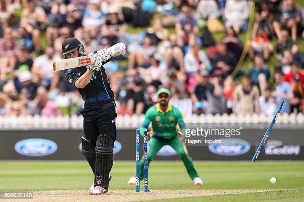 Kane Williamson of New Zealand is bowled out by Anwar Ali of Pakistan during the One Day International match between New Zealand and Pakistan at...