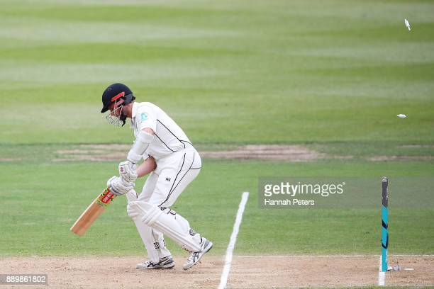 Kane Williamson of New Zealand is bowled out by Miguel Cummins of the West Indies during day three of the Second Test Match between New Zealand and...