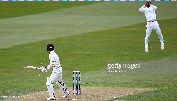 Kane Williamson of New Zealand is caught behind by Dimuth Karunaratneof Sri Lanka off the bowling of Nuwan Pradeep during day one of the First Test...