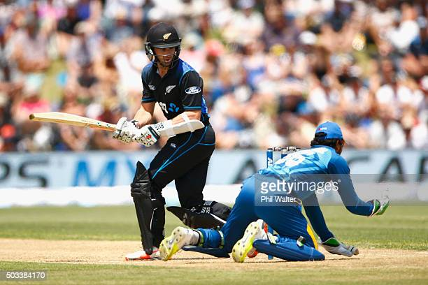 Kane Williamson of New Zealand is caught by Dinesh Chandimal of Sri Lanka game five of the One Day International series between New Zealand and Sri...