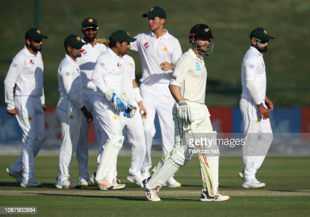 Kane Williamson of New Zealand leaves the field after being dismissed by Hassan Ali of Pakistan during day one of the Third Test match between...
