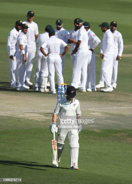 Kane Williamson of New Zealand leaves the field after being dismissed by Hassan Ali of Pakistan during day five of The Third Test match between New...