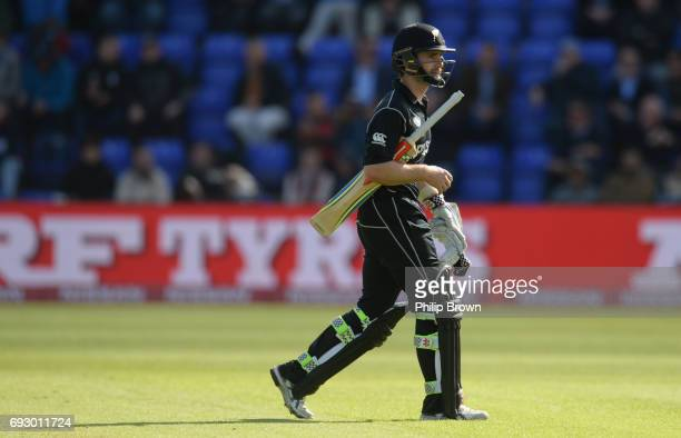 Kane Williamson of New Zealand leaves the field after being dismissed during the ICC Champions Trophy match between England and New Zealand at Swalec...